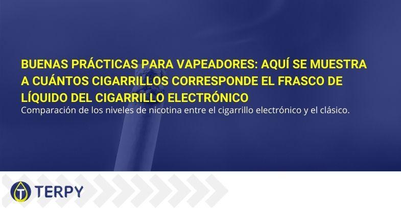 Buenas prácticas para vapeadores: aquí se muestra a cuántos cigarrillos corresponde el frasco de líquido del cigarrillo electrónico